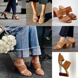 ANN TAYLOR Brown Hartley Leather Ruffle sandals 6